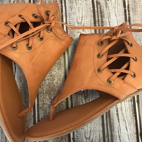 Tan Lace up Sandal