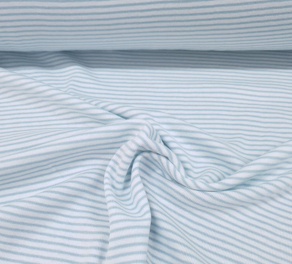 100% Organic Cotton Rib  - White/Blue