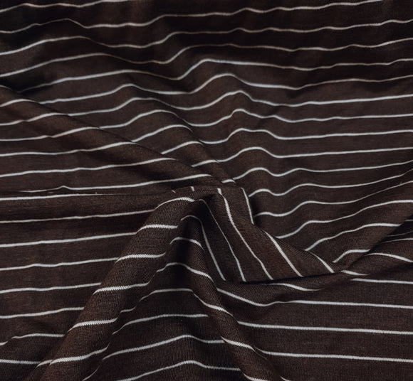 Merino Tencel- Brown/Thin Ecru Stripe