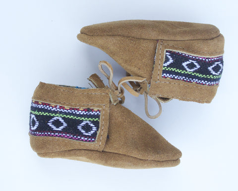 Aztec print Moccasin in Tan Suede