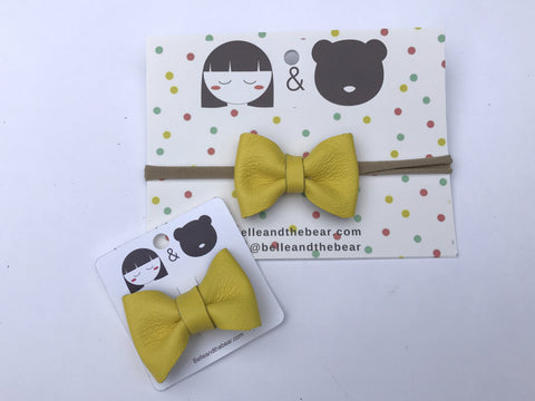 Classic Bow headband or Clip in Lemon