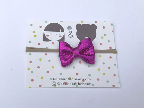 Classic Bow headband or Clip in Pink Metallic