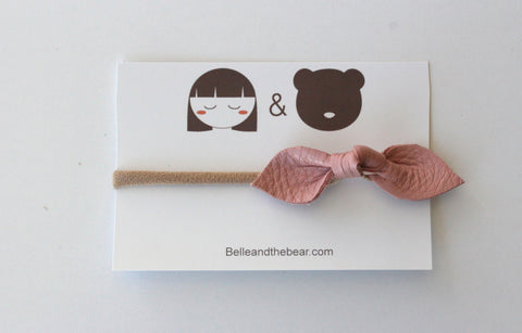 Knot Bow headband in Blush Pink