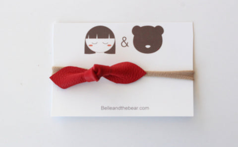 Knot Bow headband in Red