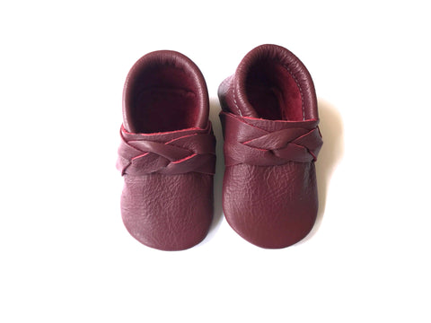 Braided Moccasin in Burgundy