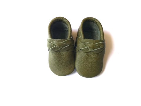 Olive Braided Moccasin