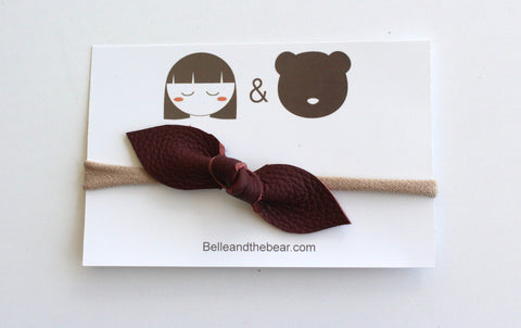 Knot Bow headband in burgundy