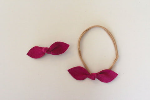 Knot Bow headband or clip in Fuchsia Suede