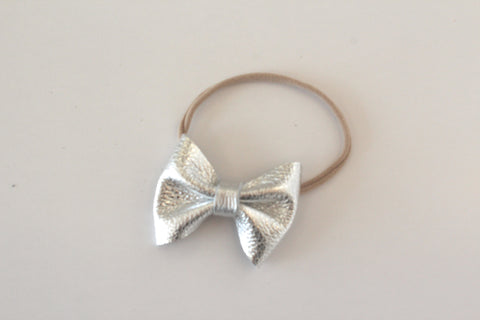 Classic Bow headband or Clip in Silver