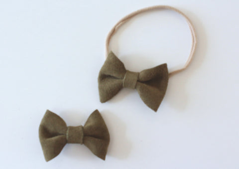 Classic Bow headband or Clip in Moss Suede