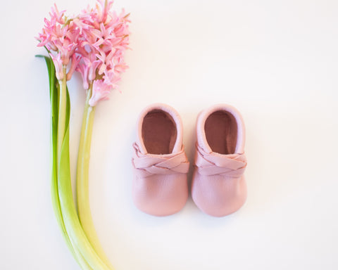 Blush Braided or Bow Moccasin