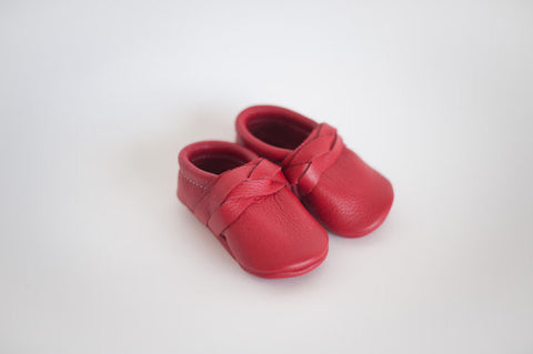 Red Braided or Bow Moccasin