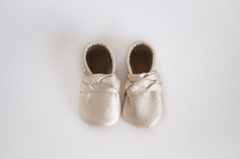 Platinum Braided or Bow Moccasin