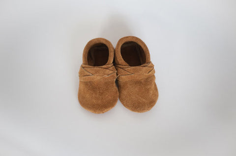 Tan Suede Braided Moccasin