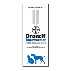 Droncit Tapewormer for Dogs and Cats (100 Tablets) - Country Vet Animal  Supplies
