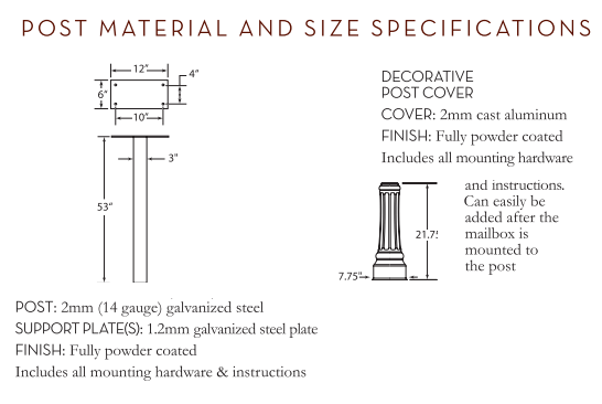 Basic Post with Decorative Cover Size Specification
