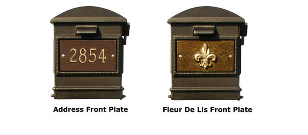 QualArc Lewiston Mailbox - Ornate Base and Solar Lamp Set Front Plates
