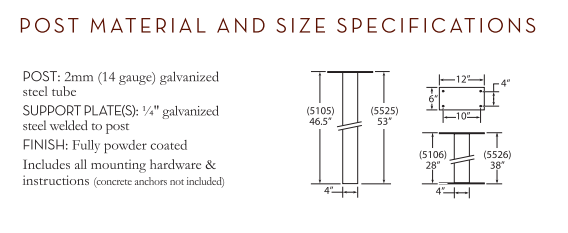 Standard Post In-Ground Size Specification