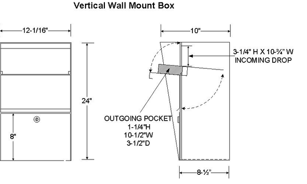 Letter Locker Vertical Wall Mount Size Specification LLVW