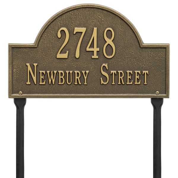 Whitehall Arch Marker Standard Lawn Address Plaque (Two Line) 1106AB