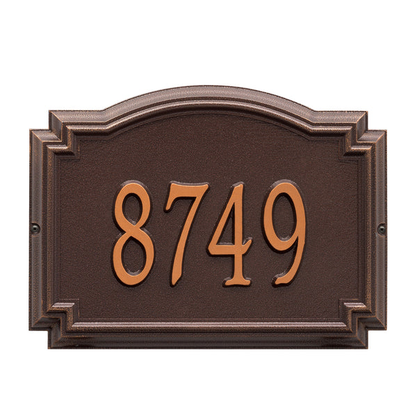 Whitehall Williamsburg Standard Wall Address Plaque (One Line) Antique Copper 1290AC