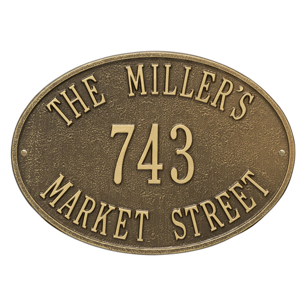 Whitehall Hawthorne Oval Standard Wall Address Plaque (Three Line) 2918AB