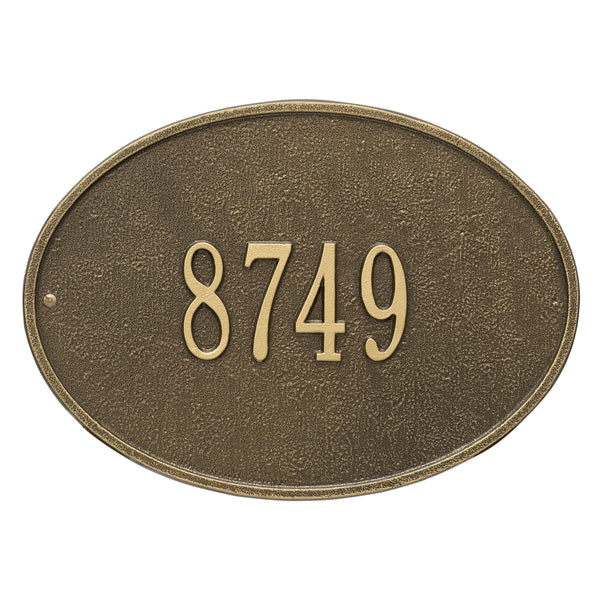 Whitehall Hawthorne Oval Standard Wall Address Plaque (One Line) 2922AB