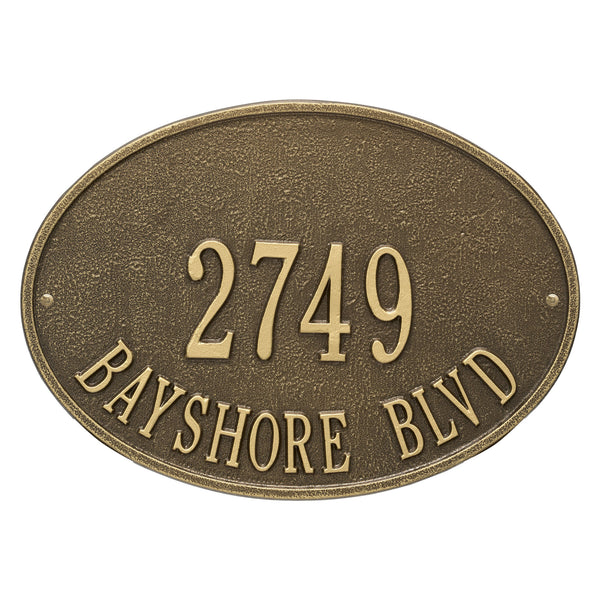 Whitehall Hawthorne Oval Standard Wall Address Plaque (Two Line) 2923AB
