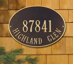 Whitehall Hawthorne Oval Standard Wall Address Plaque (Two Line)