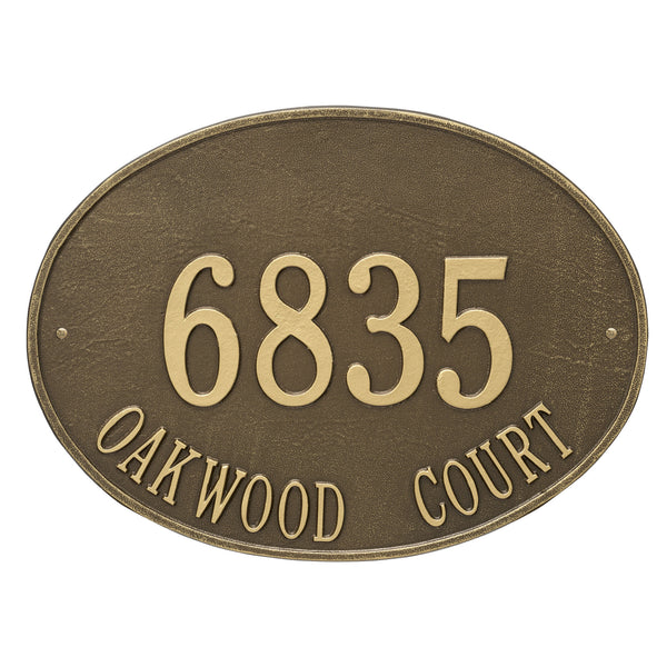 Whitehall Hawthorne Oval Estate Wall Address Plaque (Two Line) 2927AB