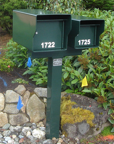 Fort Knox 2 T Mailbox Post Green for twin dual mailbox installations