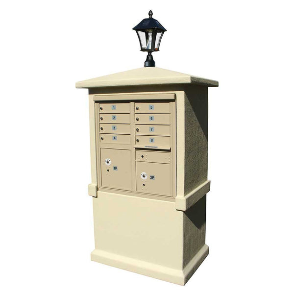 QualArc - Stucco Tall Pedestal CBU Mailbox Center Column with Solar Lamp