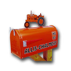 Allis Chalmers Rural Post Mount Mailbox with Tractor Topper