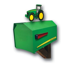 John Deere Estate Rural Post Mount Mailbox with Tractor Topper EMB-JD8000