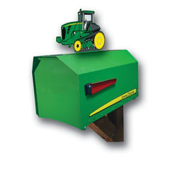 John Deere Estate Rural Post Mount Mailbox with Tractor Topper EMBJD9000T