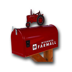 McCormick Farmall Red Rural Post Mount Mailbox with Tractor Topper
