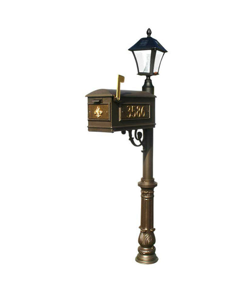 QualArc Lewiston Mailbox Ornate Base and Solar Lamp Bronze Set