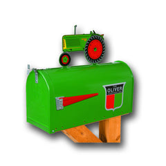 Oliver 88 Rural Post Mount Mailbox with Tractor Topper - RMB-OL