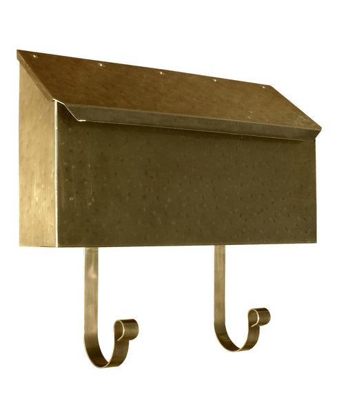 Provincial Collection Brass mailbox horizontal antique hammered brass newspaper hooks MB-500-AB