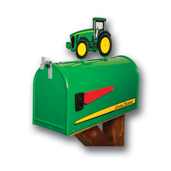 John Deere Mailbox Rural Post Mount with Tractor Topper 8000 Series RMB-JD8000