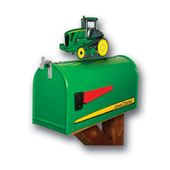 John Deere Mailbox Rural Post Mount with Tractor Topper RMB-JD9000T
