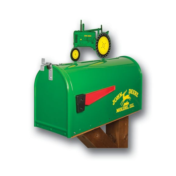 John Deere Rural Style Mailbox with Tractor Topper