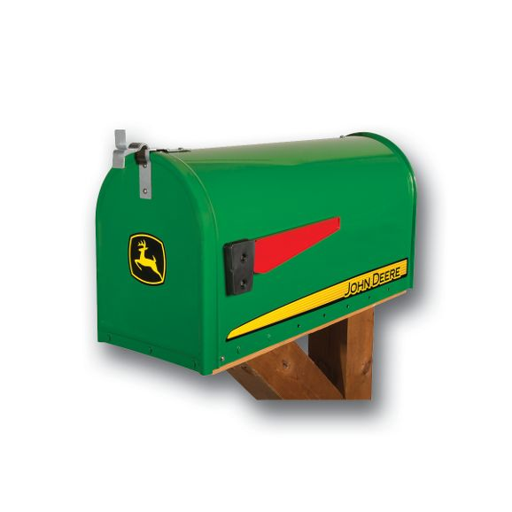 John Deere Modern Rural Post Mount Mailbox with Tractor Topper
