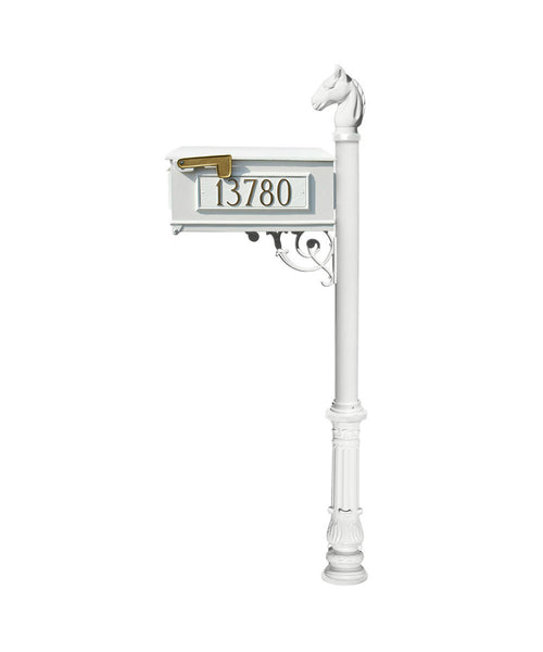 QualArc Lewiston Mailbox - Post and Address Plate Set White