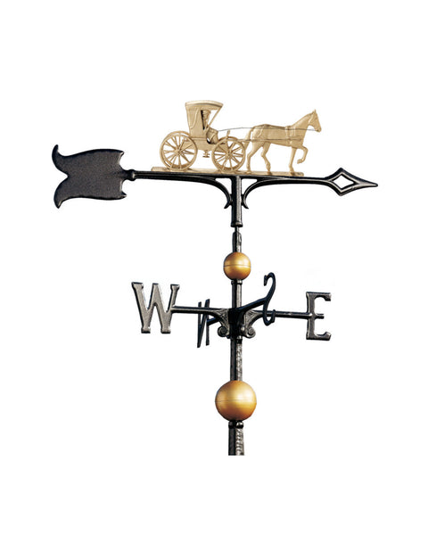 "30"" Full-Bodied Traditional Directions Country Doctor Weathervane- Gold Bronze"
