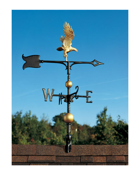 "30"" Full-Bodied Traditional Directions Eagle Weathervane- Gold Bronze"