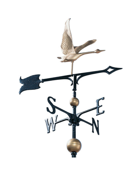 "30"" Full-Bodied Traditional Directions Goose Weathervane- Gold Bronze"