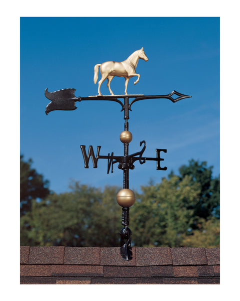 "30"" Full-Bodied Traditional Directions Horse Weathervane- Gold Bronze"