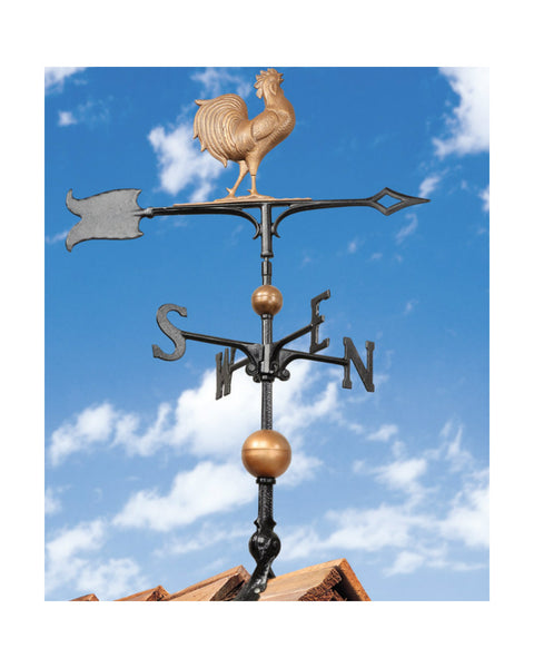 "30"" Full-Bodied Traditional Directions Rooster Weathervane- Copper"