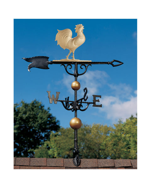 "46"" Traditional Directions Rooster Weathervane in Gold-Bronze Finish"